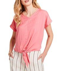 women's nic + zoe grapefruit tie front top, size small - pink