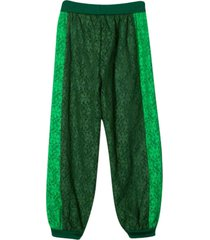 gucci green sport trousers with flowers