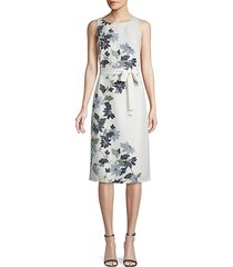 floral self-tie midi dress