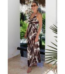 chic by lirette halter jurk samoa - bruin