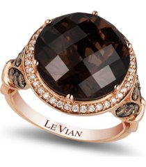 le vian chocolate quartz (8 ct. t.w.) and diamond (3/4 ct. t.w.) ring in 14k rose gold, created for macy's