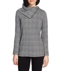 chaus plaid zip cowl neck long sleeve top, size large in rich black at nordstrom
