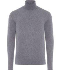 blusa masculina tricot gola alta básico - cinza
