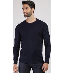 suéter masculino em tricô gola careca azul escuro