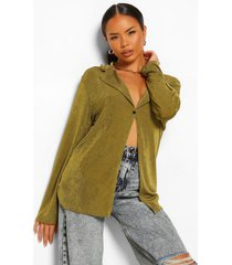textured collar detail plunge top, olive