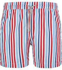 capri code swimsuit with red, blue, white and light blue stripes