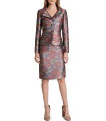 tahari asl metallic-floral skirt suit