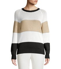 colorblock sequin crewneck sweater
