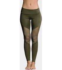 leggings deportivos ajustados con retales de malla de moda verde militar