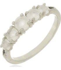 anel pedras zircônia vela di capri semi jóias x ouro branco incolor