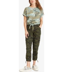 sanctuary cuffed tie camo printed t-shirt