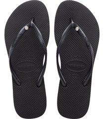 women's havaianas slim crystal flip flop, size 41/42 br - black