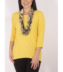 plus size 3/4 sleeve textured tunic with detachable scarf set, 2 piece