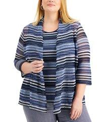 kasper plus size striped open-front cardigan