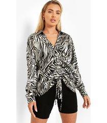 geplooide satijnen zebraprint blouse, black