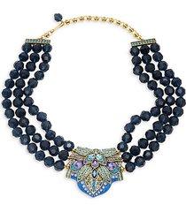 montana crystal triple-strand beaded necklace