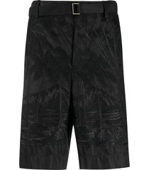 sacai belted embroidered bermuda shorts - black