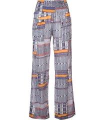 lemlem kente printed beach trousers - blue