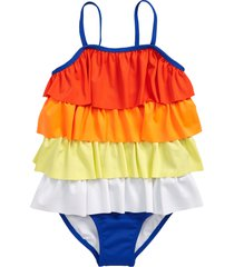 girl's tucker + tate tiered one-piece swimsuit, size 8 - blue