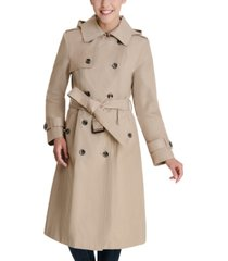 london fog double-breasted hooded water-resistant trench coat