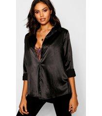 oversized satijnen blouse, zwart