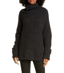 women's rag & bone klark ribbed wool blend mock neck sweater, size large - grey