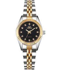 reloj mujer clasico elegante lujo chenxi 004-a plateado negro
