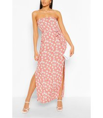 bandeau floral mix print belted maxi dress, pink