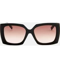 le specs women's discomania square frame sunglasses - black/gold
