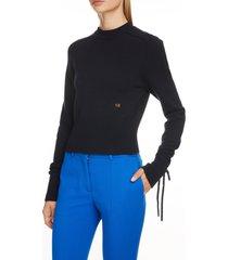 women's victoria beckham tie cuff cashmere blend sweater, size x-small - blue