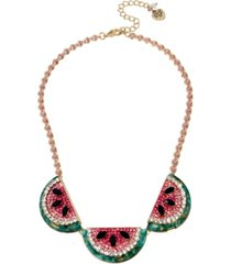 """betsey johnson watermelon frontal necklace in gold-tone metal, 17"""" + 3"""" extender"""