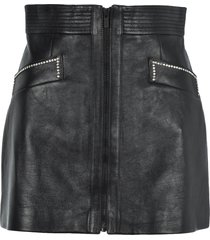 miu miu crystals embellishment leather mini skirt