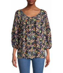 johnny was women's floral silk top - size xs