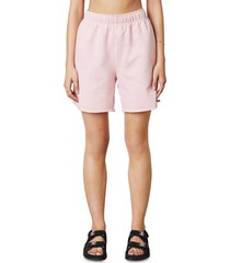nia oversize high rise cotton shorts, size x-small in bare pink at nordstrom