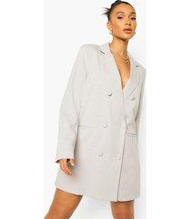 oversized linnen look blazer jurk, taupe