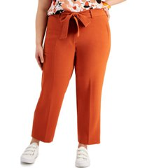 bar iii trendy plus size belted straight-leg pants, created for macy's