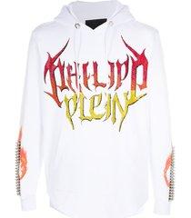 philipp plein sequin logo printed hoodie - white