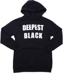 msgm black cotton sweatshirt hoodie