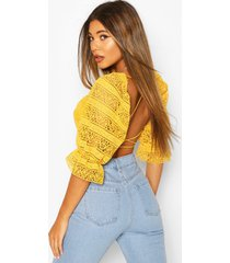 lace 1/4 sleeve strappy back top, yellow
