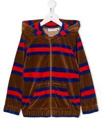 mini rodini velour striped hoodie - brown