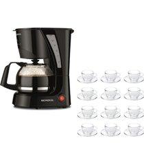 kit 1 cafeteira pratic mondial faz 17 xicaras de café 110v e 1 jogo 12 xícaras 240ml com pires