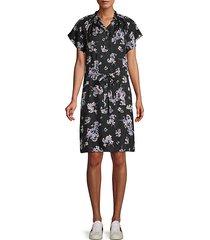 floral-print silk button-front dress
