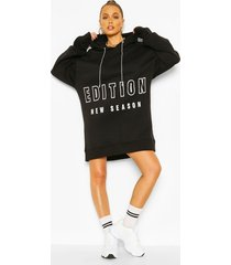 contrast tape slogan oversized sweatshirt dress