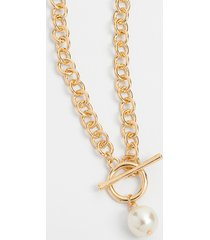 maurices womens gold chunky chain pearl toggle necklace