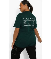 plus t-shirt met rugopdruk, dark green