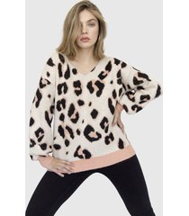 sweater cuello v animal print marena rosado racaventura