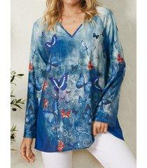 camicetta casual da donna con scollo a v a maniche lunghe con stampa tinta unita a farfalla