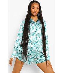 satijnen palm print pyjama set met shorts, ivory