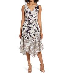 women's vince camuto asymmetrical linen blend dress