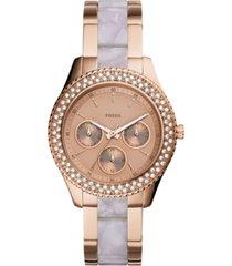 fossil women's stella rose gold-tone stainless steel & acetate bracelet watch 38mm
